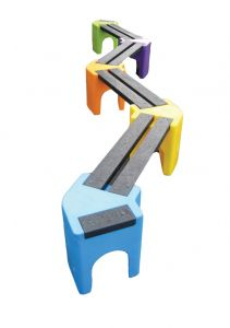 Multicoloured Zig-Zag Benches (8 Persons)
