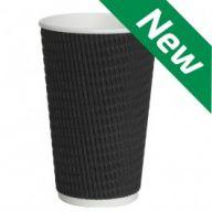12oz Black Triple-Wall Ripple Cups - 1000