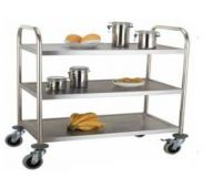 Large 3 Tier Stainless Steel Service Trolley