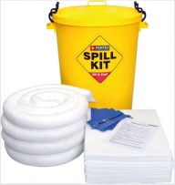 90 Litre Oil & Fuel Spill Kit in a Yellow Drum
