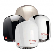 four airforce hand dryers in various finishes
