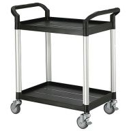 Two tier plastic utility tray trolley with 2 shelves