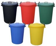 Trojan 85L Heavy Duty Coloured Clip Lid Dustbins (Various Colours)