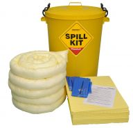 100 Litre Chemical Spill Kit in a Yellow Drum