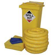 Chemical 120 Litre Spill Kit In Yellow Wheelie Bin