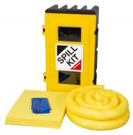 50L Spill Kits General, Chemical, Oil, in a Robust Wall Cabinet