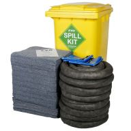 240 Litre EVO Recycled® Spill Kit in Yellow Wheelie-bin