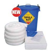 100 Litre Oil & Fuel Spill Kit in A Blue Drum