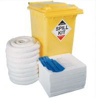 240 Litre Oil & Fuel Spill Kit in Yellow Wheeled Bin