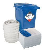 240 Litre Oil & Fuel Spill Kit in Blue Wheeled Bin