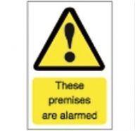 Premises Alarmed Security Sign- Rigid Plastic (D- 150 x 100mm)