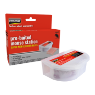 box of Pest-Stop Super Mouse Killer Pre-Baited Station with the station in front of the box