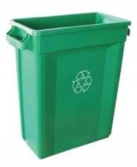 60L Slim Bin Recycling Bin with Vent (Green)