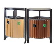 Trojan 2 x 39 Litre Outdoor Wood Effect Bin with Liner