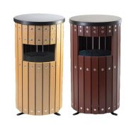 Trojan 33 Litre Round Wood Effect Outdoor Bin with Liner