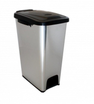 Trojan Plastic Pedal Bin in Metal Look (Various sizes)
