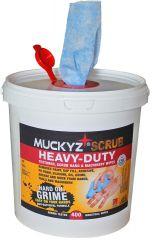 tub of 400 Muckyz Heavy Duty Scrub Degreaser Antibacterial wipes