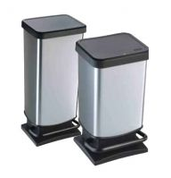 Paso Plastic Pedal Bin Metalic Silver (Various sizes)