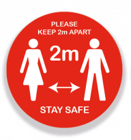 Circular Keep 2 Meters Apart Stay Safe Sign Red 200mm