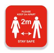 Square Keep 2 Meters Apart Stay Safe Sign Red 300mm