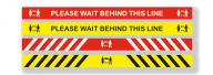 Keep Behind The Line Wall and Floor Sign 1200mm x 85mm - Red