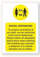 Social Distancing Vinyl Poster in Yellow