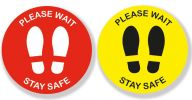Please Wait Stay Safe Sign Vinyl Floor Stickers 2 Sizes - Pack of 5