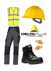 bundle of workwear including hi-vis waistcoat, workpants, hard hat, work boots and safety gloves, with a delta plus logo in the middle of the image