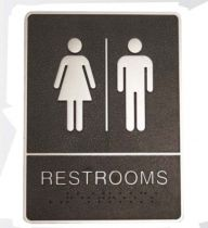Black and Chrome Rectangle 'Washrooms' Toilet Sign