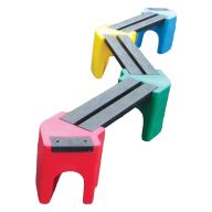 Multicoloured Zig-Zag Benches (6 Persons)