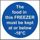 'The Food in this Freezer' Temperature Sign - Vinyl