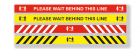 Keep Behind The Line Sign in 2 Colours and 2 Sizes - Pack of 5
