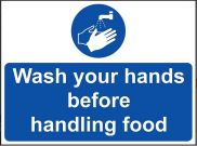 'Wash Your Hands Before Handling Food' Sign - Vinyl 20 x 15 cm
