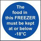 'The Food in this Freezer' Temperature Sign - Vinyl