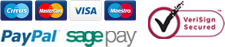 We accept the following payment methods: Cirrus, Mastercard, Visa, Maestro, Paypal, Sage Pay. We are VeriSign secured