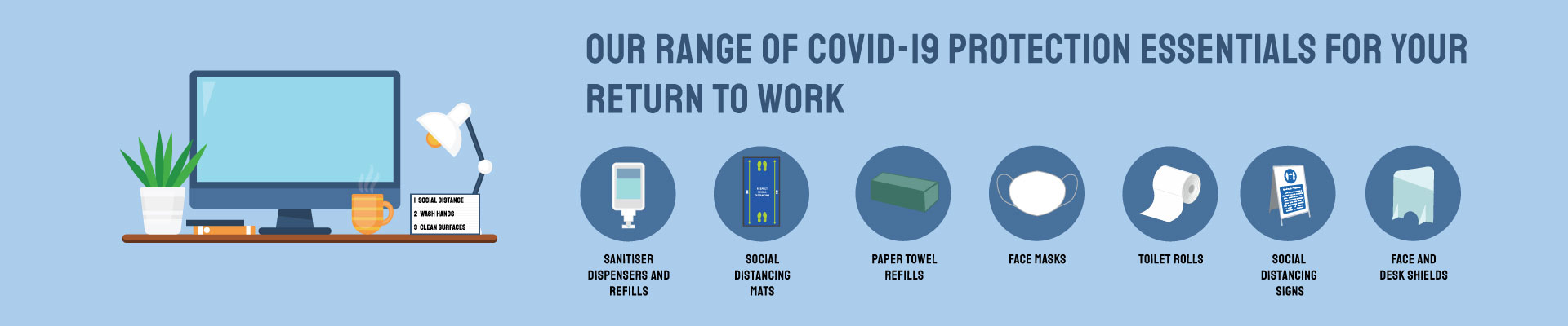OUR RANGE OF COVID-19 PROTECTION ESSENTIALS FOR YOUR RETURN TO WORK